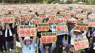 Protestan en Japón contra bases militares de Estados Unidos