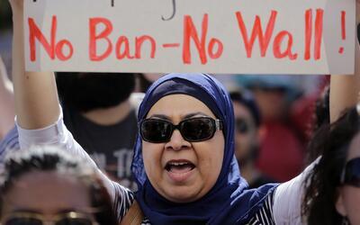 Manifestación contra el veto a refugiados e inmigrantes de seis p...