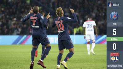 Mbappé brilla con 'poker' en la goleada del PSG sobre el Lyon