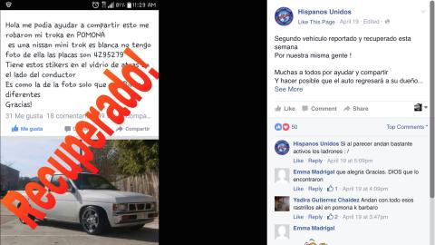 Los usuarios de Facebook ayudaron a encontrar el auto robado.