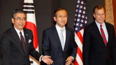 El enviado nuclear de EU, Glyn Davies, se reunió con Lim Sung-nam de Cor...