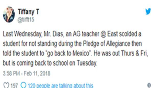 """""""Regresa a tu país"""", el regaño de un maestro a una alumna hispana por no..."""