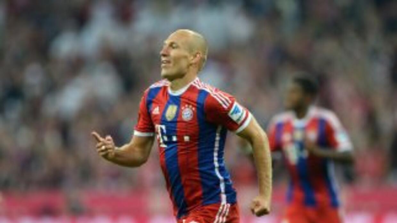 Robben celebra su gol contra el Wolfburgo en el inicio de la Bundesliga.