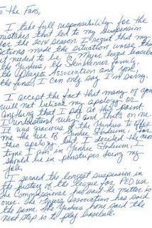 17 de Febrero - Alex Rodríguez pidió disculpas con carta escrita a mano...