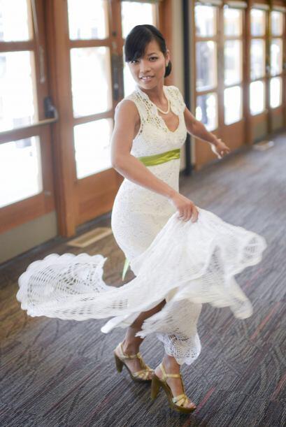 Así es como lucía la ahorrativa novia en su gran día.