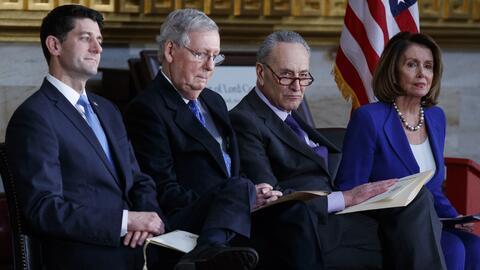 Los líderes del Congreso. De izquierda a derecha: reprersentante...