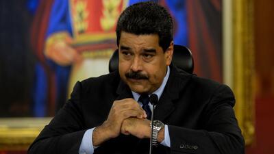 El presidente de Venezuela, Nicolás Maduro, durante una conferenc...