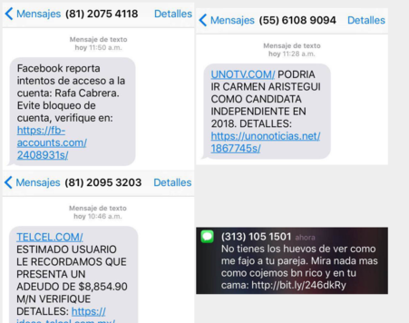 El periodista mexicano envió estas imágenes de la pantalla de su teléfon...