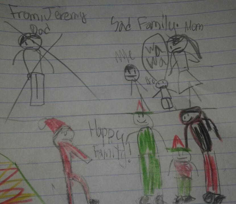El mayor de los hermanos, Jeremy, dibujó como se imagina una familia fel...