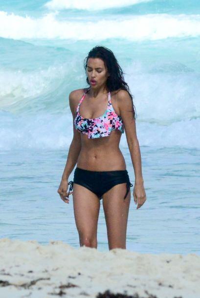 Así se dejó ver en las playas de Cancún, México.