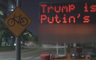 Mensajes obscenos en contra de Trump fueron proyectados en vallas digita...