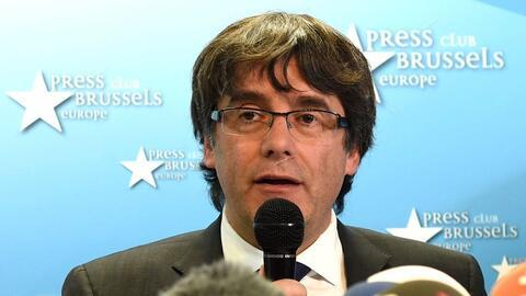 Carles Puidgemont durante una conferencia de prensa el 31 de octubre en...