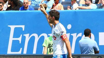 Ignacio Piatti celebra sus dos goles ante New York City FC