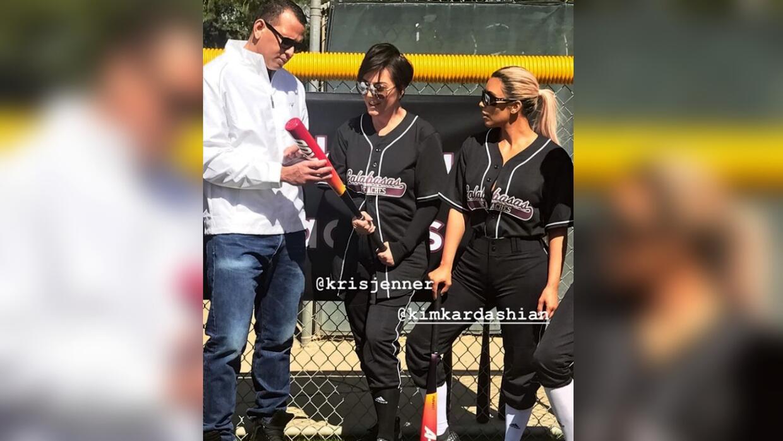 Alex Rodríguez junto a Kris Jenner y Kim Kardashian.