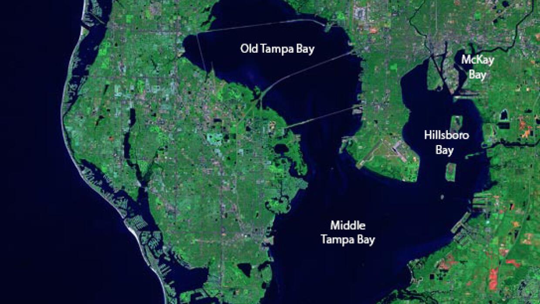 Imagen desde el espacio de la Bahía de Tampa.