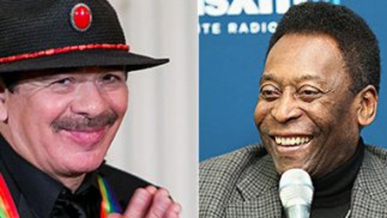 El guitarrista mexicano, Carlos Santana, y el ex futbolista, Pelé.