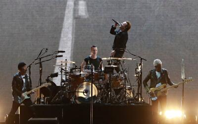 (From L) The Edge, Larry Mullen Jr, Bono and Adam Clayton of Irish rock...