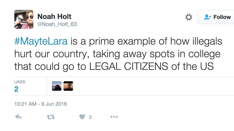 Un tuit del usuario @Noah_Holt_63.