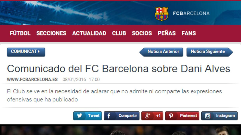 Barcelona sobre el comentario de Dani Alves