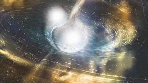 Ilustración de dos estrellas de neutrones fusionadas en una colis...