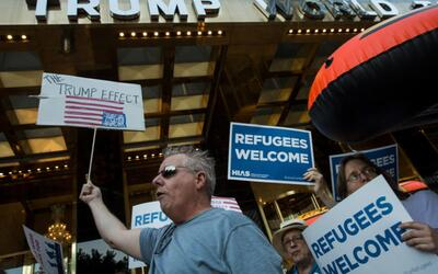 A protest in New York against Trump's immigration policies