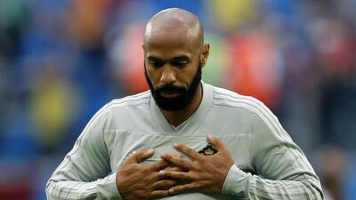 Las caras de Thierry Henry al estar con Bélgica para enfrentar a Francia en el Mundial