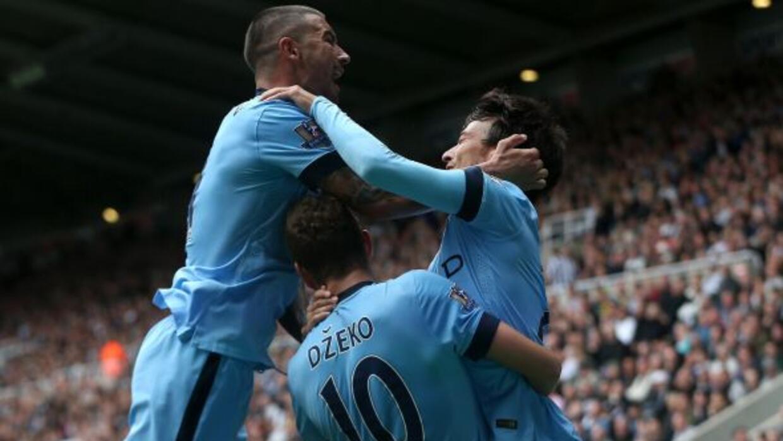 Silva celebrando el primer gol para los 'Citizens'.