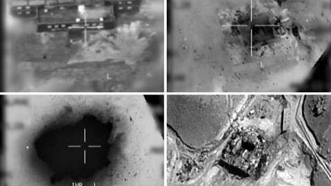 Las imágenes suministradas por las fuerzas armadas israelí...