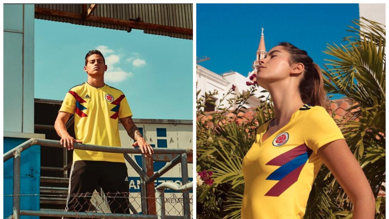 A la izquierda el jugador de la selección Colombia James Rodríguez con l...