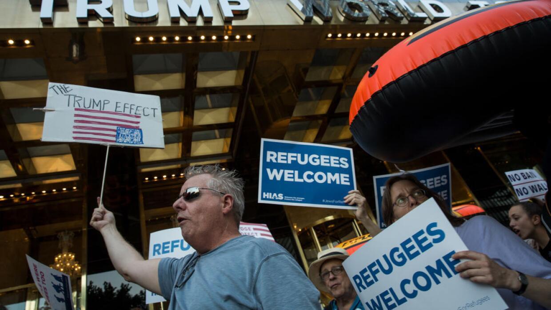 Protesta contra el veto migratorio de Trump en Nueva York.