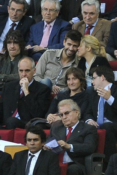 Los dos acompañaron al capitán blaugrana Carles Puyol.