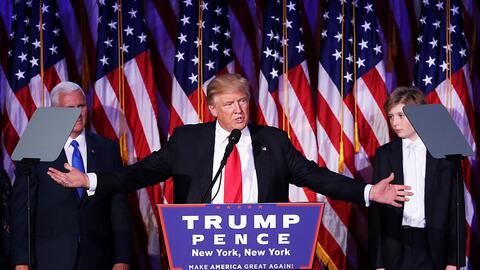 Donald Trump en su discurso de victoria en el hotel Hilton Midtown de Nu...