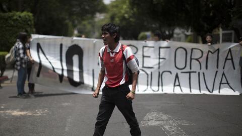 Una protesta contra la reforma educativa en Oaxaca.