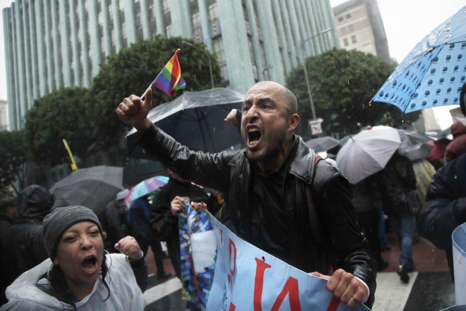 La expresión de uno de los miles de manifestantes en la marcha.