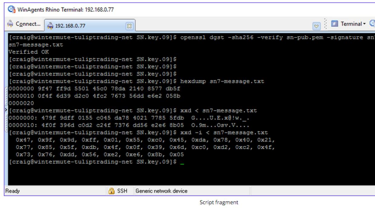 Fragmento de uno de los códigos de funcionamiento del bitcoin, dados a c...