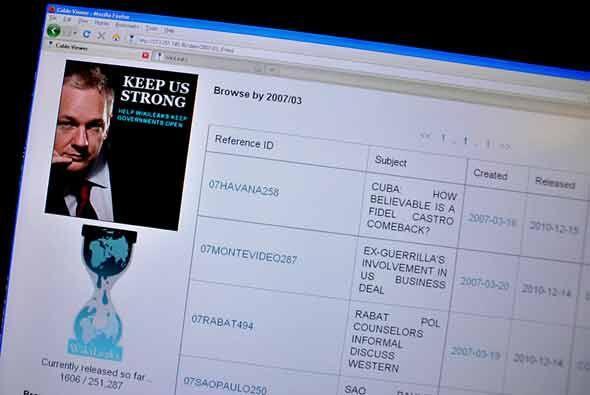 El 16 de diciembre 2010 la imagen de la página web Wikileaks mostró la p...