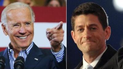 El Vicepresidente de Estados Unidos, Joe Biden, y su adversario republic...