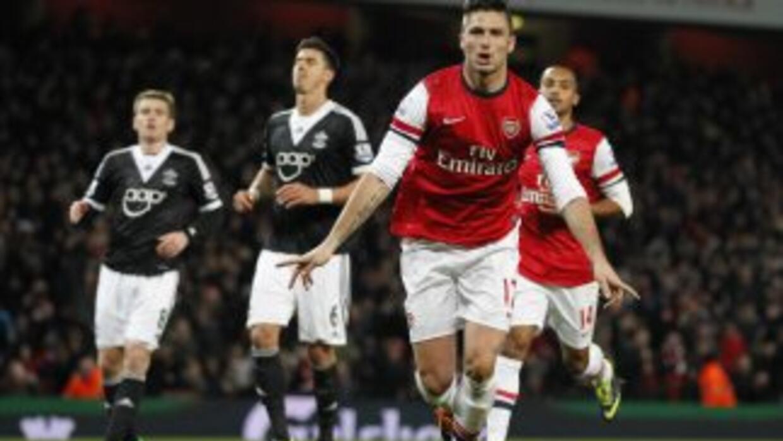 Olivier Giroud celebra el gol del triunfo de Arsenal contra Southampton.