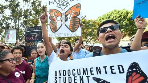 Young immigrants protest in favor of DACA in Los Angeles, California.