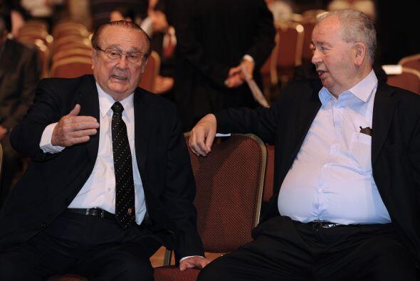 El paraguayo Nicolás Leoz y el argentino Julio Grondona. Leoz, de 82 año...