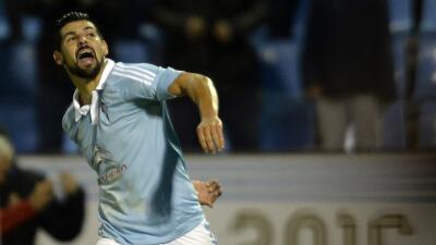 Nolito celebra su gol ante el Sporting
