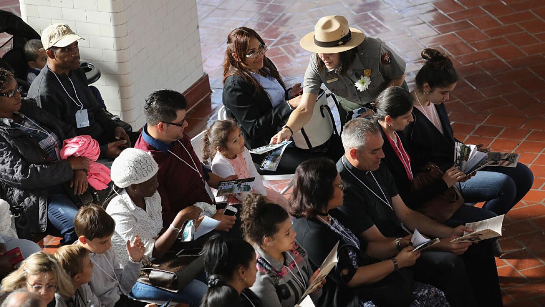 Ceremonia de naturalización en Ellis Island, en septiembre de 2016.