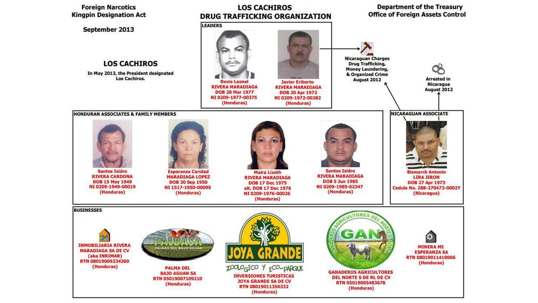 Organigrama de Los Cachiros en la OFAC