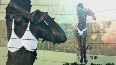 Vandalizan mural de pechos desnudos