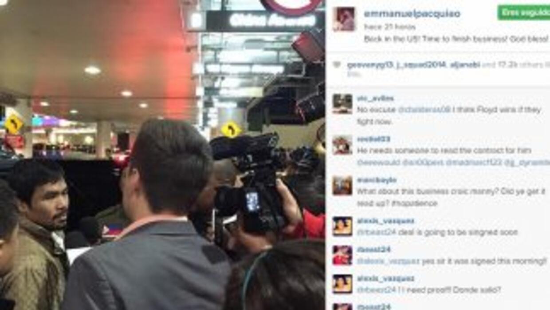 Manny Pacquiao llegó a Estados Unidos para cerrar negocios.