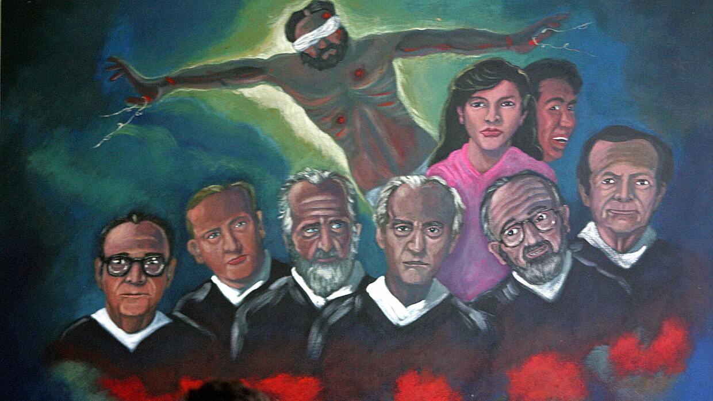 Un mural alusivo a la masacre de 1989 en El Salvador