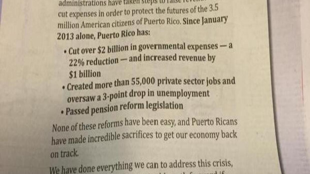 Carta abiera del gobernador de Puerto Rico en The Washington Post