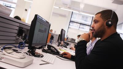 Trabajadores en la sede de la empresa tecnológica Yelp en Nueva York.