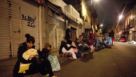 Residents of Mexico City gathered outdoors after an earthquake struck of...