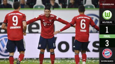 ¡Se sacude la crisis! Bayern gana con doblete de Lewandowski y gol de James Rodríguez